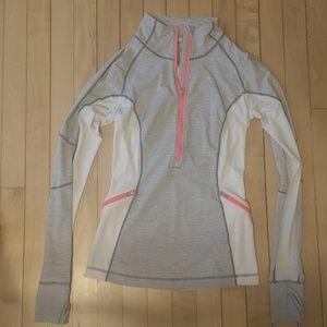 lululemon athletica 4 pullover zip up white grey